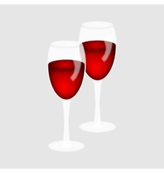 Two glasses of red wine vector image vector image
