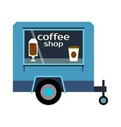 Coffee truck trailer vector