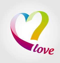 logo heart of colored ribbons vector image