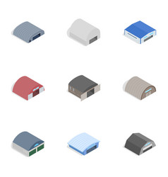 Barn icons isometric 3d style vector