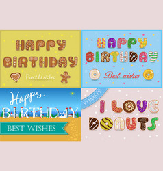 Happy birthday inscription by unusual font vector