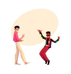 Two men guys caucasian and black at retro disco vector