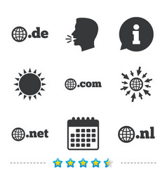 top-level domains signs de com net and nl vector image