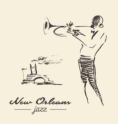 New orleans jazz poster trumpet drawn sketch vector