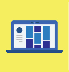Modern laptop with user interface and yellow vector