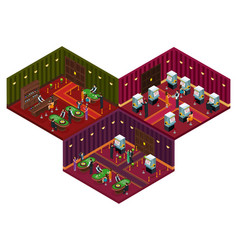 People in casino isometric concept vector