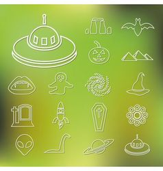 Mystic outline icons vector