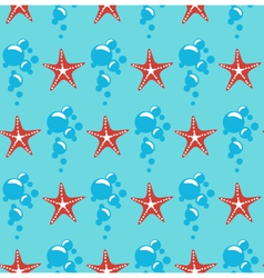 Seamless sea pattern red starfish and blue bubbles vector