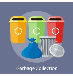 Garbage and recycling cans collection vector
