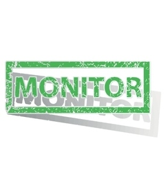 Green outlined monitor stamp vector