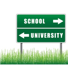 Roadsign school university with grass below vector