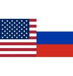 American and russian flags together vector