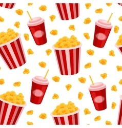 Popcorn and soda seamless pattern vector