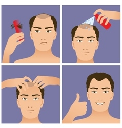 Set with hair treatment to prevent hair falling vector image