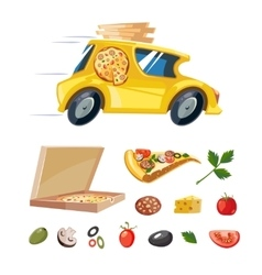 Cartoon picture of pizza delivery yellow car vector