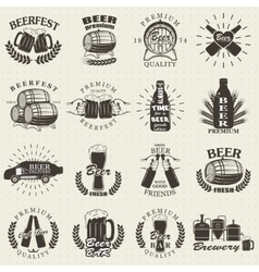Vintage craft beer brewery emblems vector image