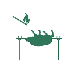 Barbecue boar and matches icon vector