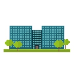 Blue city office building with trees vector