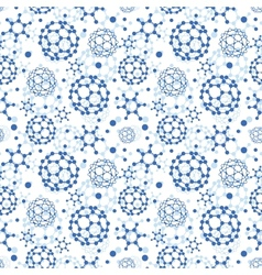 Blue molecules texture seamless pattern background vector image
