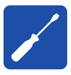 blue white information sign - screwdriver icon vector image vector image