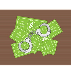 bribe and handcuffs vector image vector image