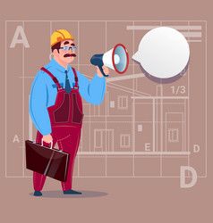 Cartoon builder holding megaphone making vector