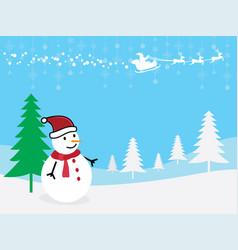 Christmas greeting card snowman with santa claus vector