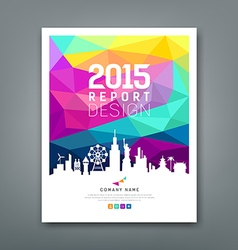 Cover report geometric shapes silhouette landmarks vector image