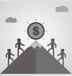 four businessman is climbing to get the coin vector image vector image