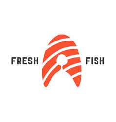 Fresh fish logo with piece of salmon vector