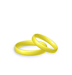 Gold wedding rings 3d objects vector image