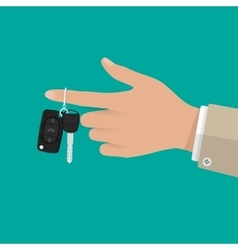 Hand holding Car Key with alarm and chain vector image vector image