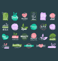 health and beauty care labels spa yoga vector image vector image