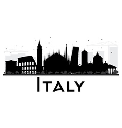 Italy skyline black and white silhouette vector