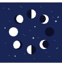 Moon phases set on dark stars background - vector
