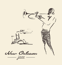 New orleans jazz poster trumpet drawn sketch vector