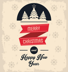 Pine tree merry christmas design vector
