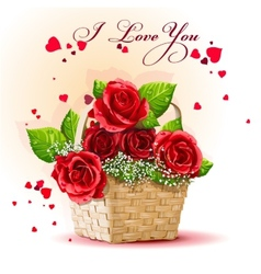 Red roses in a basket vector