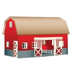 Red wooden toy barn vector