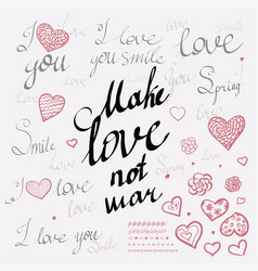 romantic calligraphy hand drawn heart with words i vector image