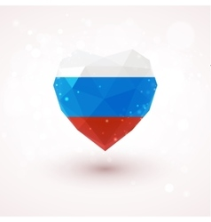 Russian flag in shape diamond glass heart vector