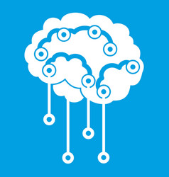 sensors on human brain icon white vector image