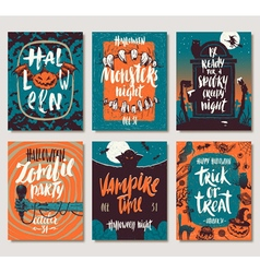 Set of Halloween posters or greeting card vector image vector image