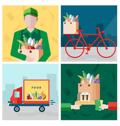 Set on delivery food theme courier bicycle vector