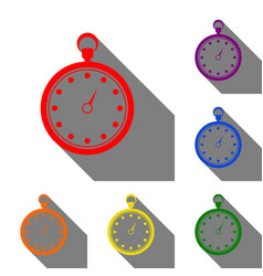 stopwatch sign set of red orange vector image vector image