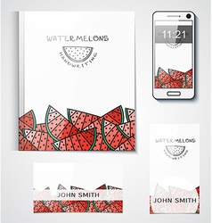 Template branded products with fruit design vector