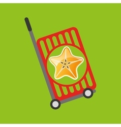 Trolley shop juicy star carambola fruit vector
