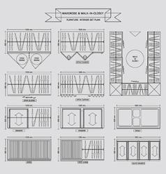 Wardrobe outline icon vector image vector image