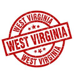 West virginia red round grunge stamp vector