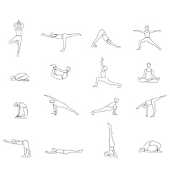 Yoga postures linear silhouette set vector image